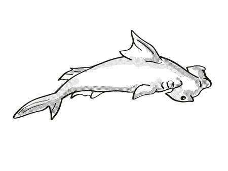Retro cartoon mono line style drawing of a scalloped hammerhead or Sphyrna lewini, a species of hammerhead shark, an endangered wildlife species on isolated background done black and white full body.
