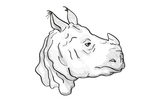 Retro cartoon style drawing of head of an Indian Rhinoceros, an endangered wildlife species on isolated white background done in black and white.
