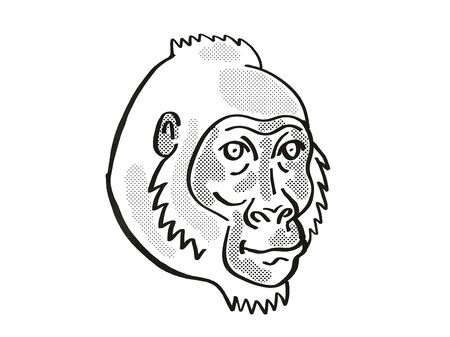 Retro cartoon mono line style drawing of head of a Cross River Gorilla or Gorilla gorilla diehli, an endangered wildlife species on isolated white background done in black and white.