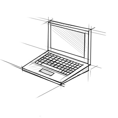 Technical Drawing sketch style illustration of a laptop computer on screen on isolated white background.