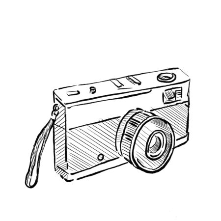 Drawing sketch style illustration of Vintage 35mm SLR Film Camera on isolated white background.