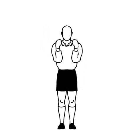 Retro style line drawing illustration showing a rugby referee with penalty not releasing the ball when tackled hand signal on isolated background in black and white.