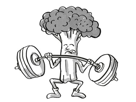 Retro cartoon style drawing of a Broccoli, a healthy vegetable lifting a barbell on isolated white background done in black and white. Stock Photo