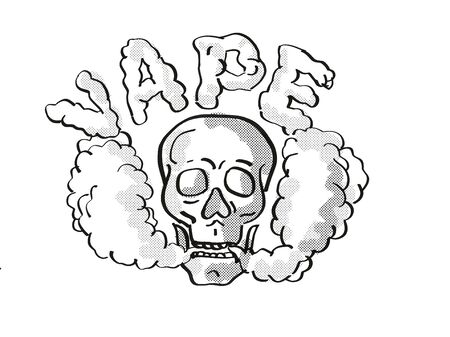 Tattoo cartoon style drawing illustration of a human vaper skull vaping puffing smoke the text Vape on isolated background done in black and white.