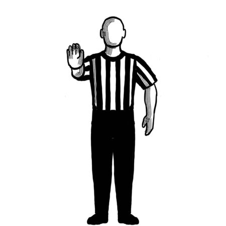 Black and white illustration of a basketball referee or official with hand signal showing directional signal viewed from front on isolated background done retro style.