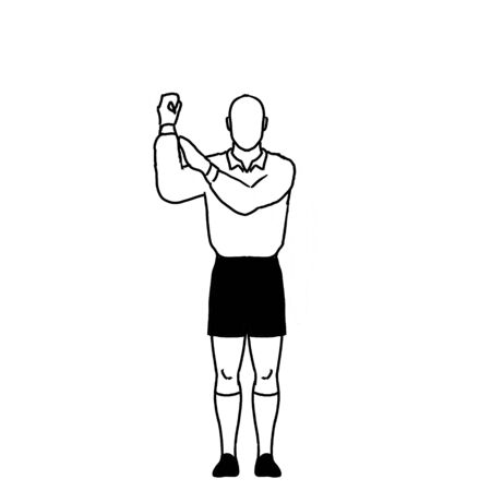 Retro style line drawing illustration showing a rugby referee with penalty knock on hand signal on isolated background in black and white. Stock Photo