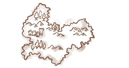 Retro style sketch drawing of a vintage medieval fantasy map of an island on white background.