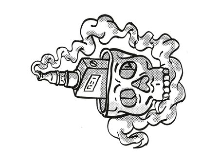 Tattoo cartoon style drawing illustration of a human vaper skull with top of head open and vaper inside smoking on isolated background done in black and white.