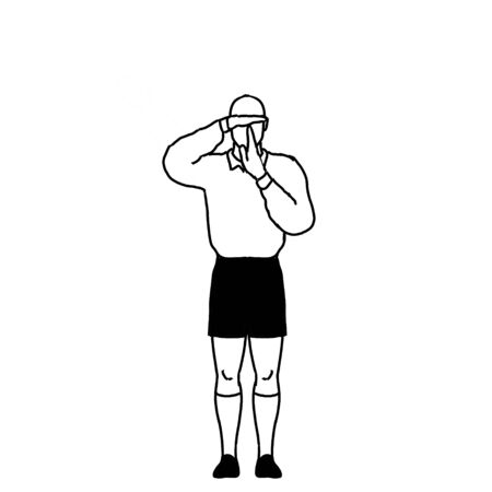 Retro style line drawing illustration showing a rugby referee with penalty refer to TV Match Official hand signal on isolated background in black and white. Stok Fotoğraf - 133297704