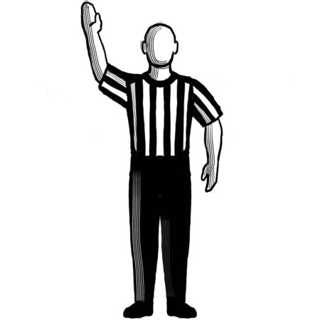 Black and white illustration of a basketball referee or official with hand signal showing stop clock viewed from front on isolated background done retro style. Stock Photo