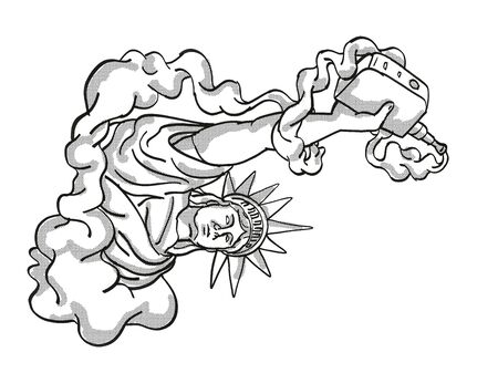 Tattoo cartoon style drawing illustration of Statue of Liberty Holding Vape Electronic Cigarette or vaper smoking with puff of smoke on isolated background done in black and white. Stockfoto