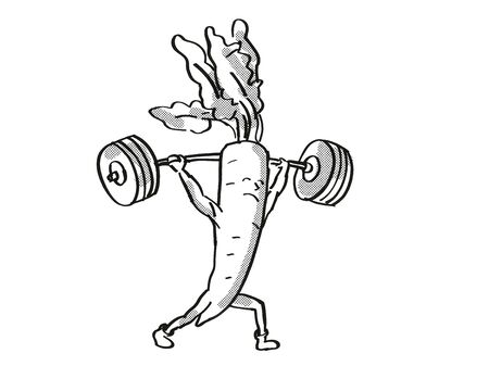 Retro cartoon style drawing of a Radish, a healthy vegetable lifting a barbell on isolated white background done in black and white.