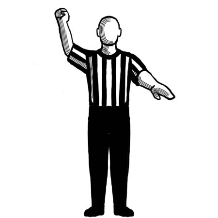 Black and white illustration of a basketball referee or official with hand signal showing stop clock for foul viewed from front on isolated background done retro style.
