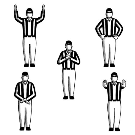 Retro style collection set of drawing illustration showing an American football referee or official with hand signals on isolated background done black and white.