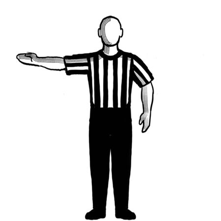 Black and white illustration showing a basketball referee or official with hand signal of delayed lane violation viewed from front on isolated background done retro style. Stock Photo