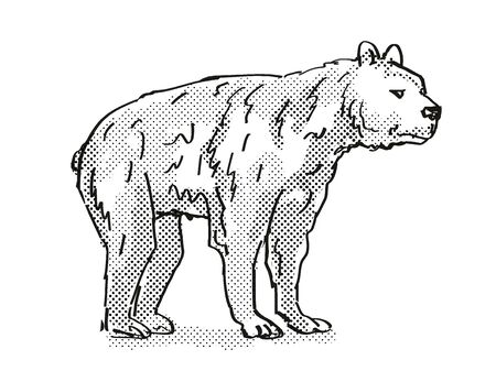 Retro cartoon style drawing of a Short-Faced Bear, an extinct North American wildlife species on isolated background done in black and white full body. Фото со стока
