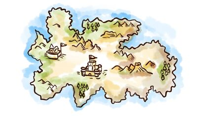 Retro style sketch drawing of a vintage medieval fantasy map of an island on isolated white background. Stok Fotoğraf