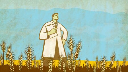 Retro style illustration of a scientist, researcher or laboratory technician with clipboard in the middle of a Genetically Modified Organism or GMO wheat field. Stock Photo