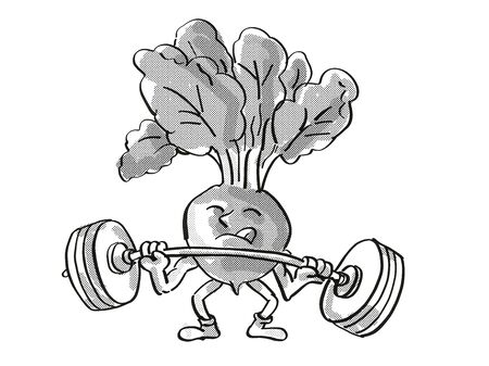 Retro cartoon style drawing of a Red Radish, a healthy vegetable lifting a barbell on isolated white background done in black and white. Stock Photo