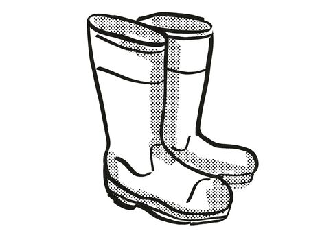 Retro cartoon style drawing of a pair of Wellington Rubber Boots or Gumboots on isolated white background done in black and white.