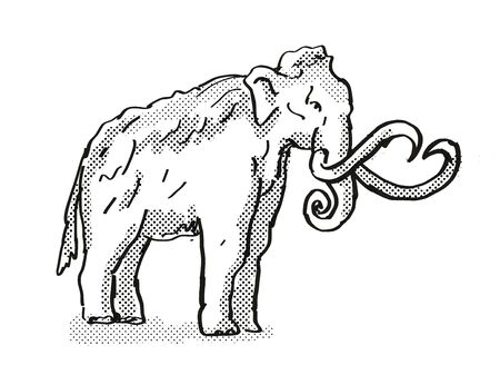 Retro cartoon style drawing of a Columbia Mammoth, an extinct North American wildlife species on isolated background done in black and white full body. Stock fotó
