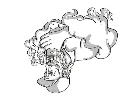 Tattoo cartoon style drawing illustration of a Bearded Hipster Vaping puffing smoke smoking electronic cigarette or vaper on isolated background done in black and white.