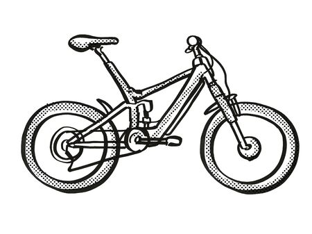 Retro cartoon style drawing of an electric bicycle or  e-bike on isolated white background done in black and white