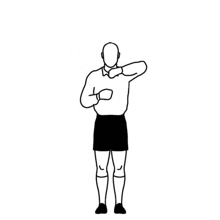 Retro style line drawing illustration showing a rugby referee with penalty leaning on lineout hand signal on isolated background in black and white.