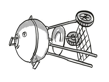 Retro cartoon style drawing of a Portable Barbecue Charcoal Grill on isolated white background done in black and white.