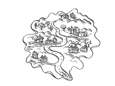 Retro cartoon style drawing of a vintage fantasy or treasure map showing an Island With River and Houses on isolated white background done in black and white.