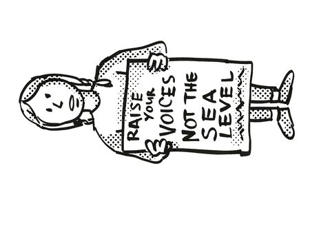 Cartoon style illustration of a young student or child with placard, Raise Your Voices Not the Sea Level protesting on Climate Change done in black and white.