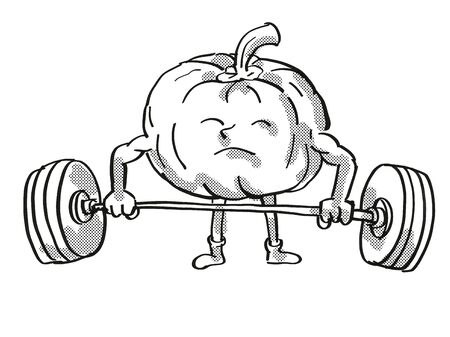Retro cartoon style drawing of a Pumpkin or Squash, a healthy vegetable lifting a barbell on isolated white background done in black and white