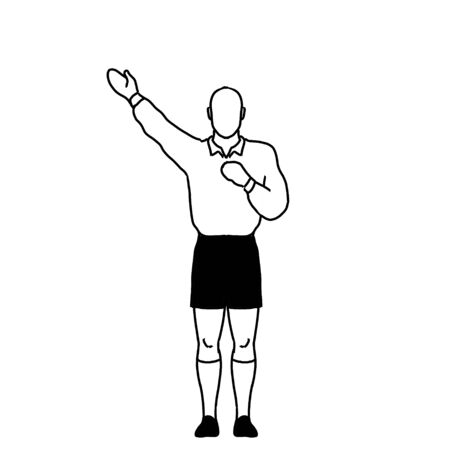 Retro style line drawing illustration showing a rugby referee with penalty kick hand signal on isolated background in black and white. Stock Photo