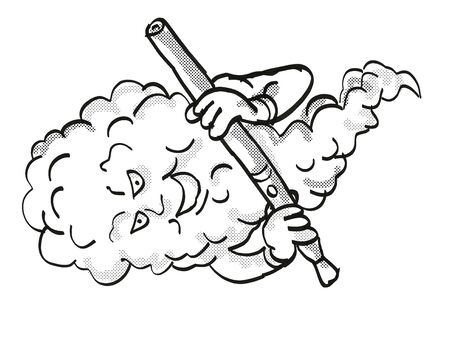 Tattoo cartoon style drawing illustration of a Vape Mascot Holding Electronic Cigarette on isolated background done in black and white.