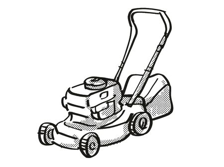 Retro cartoon style drawing of a lawn mower on isolated white background done in black and white.