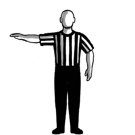 Black and white illustration of a basketball referee or official with hand signal showing visible count viewed from front on isolated background done retro style. Stock Photo