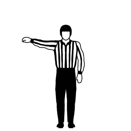 Drawing illustration showing an ice hockey official or referee with different hand signal on isolated background done in black and white. Imagens