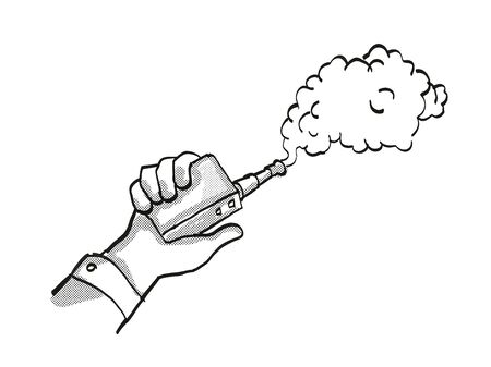 Tattoo cartoon style drawing illustration of a hand holding vape electronic cigarette or vaper smoking with puff of smoke on isolated background done in black and white.
