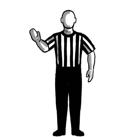 Black and white illustration of a basketball referee or official with hand signal showing 5-second violation viewed from front on isolated background done retro style.