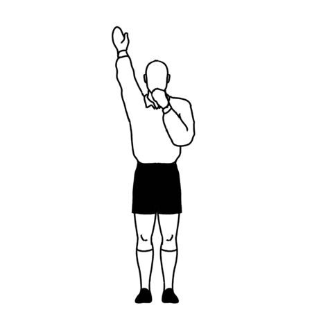 Retro style line drawing illustration showing a rugby referee with penalty try hand signal on isolated background in black and white. Imagens
