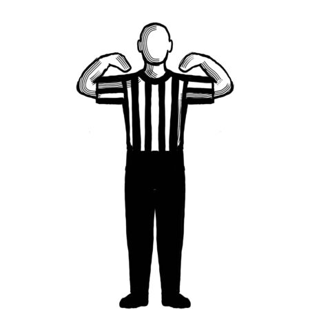 Black and white illustration of a basketball referee or official with hand signal showing 30-second time-out viewed from front on isolated background done retro style.