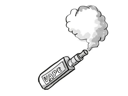 Tattoo cartoon style drawing illustration of a vape electronic cigarette or vaper smoking with puff of smoke on isolated background done in black and white. 스톡 콘텐츠