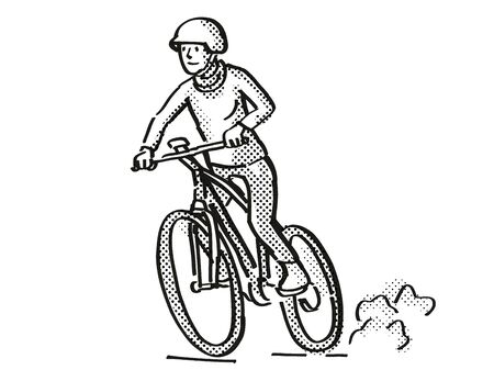 Retro cartoon style drawing of a female cyclist riding on an electric bicycle or  e-bike on isolated white background done in black and white