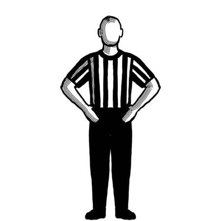Black and white illustration of a basketball referee or official with hand signal showing blocking viewed from front on isolated background done retro style.