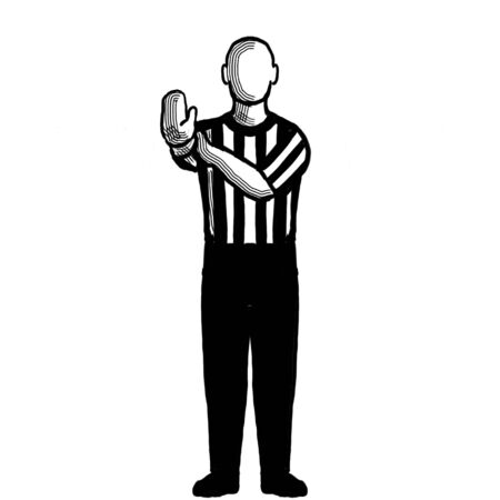 Black and white illustration of a basketball referee or official with hand signal showing hand check viewed from front on isolated background done retro style. Stock Photo