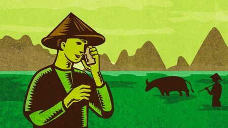 Retro style illustration of a Vietnamese or South East Asian farmer wearing a hat talking on mobile phone or cellphone with paddy field and mountains in background.