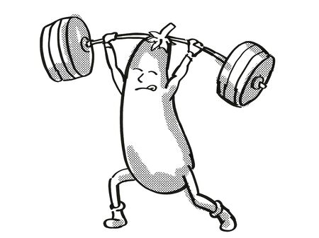 Retro cartoon style drawing of an Eggplant or Aubergine, a healthy vegetable lifting a barbell on isolated white background done in black and white. Stock Photo