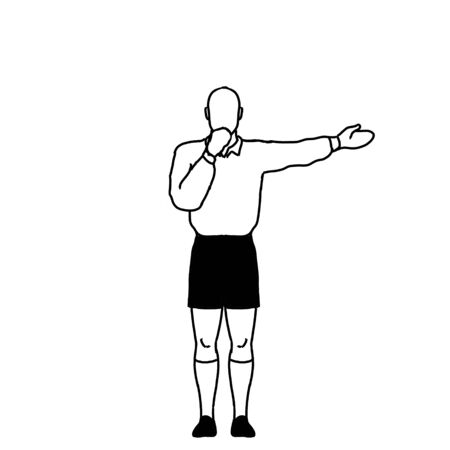 Retro style line drawing illustration showing a rugby referee with penalty Direct Free Kick hand signal on isolated background in black and white. Stock Photo