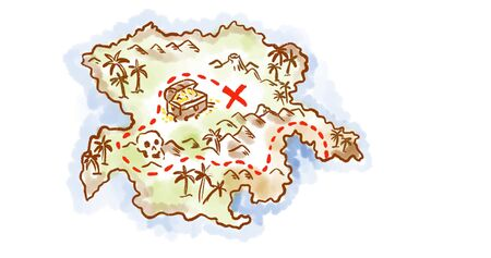 Retro style sketch drawing of a vintage fantasy treasure map of an island showing x mark the spot on isolated white background.
