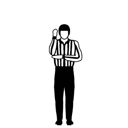 Drawing illustration showing an ice hockey official or referee with different hand signal on isolated background done in black and white. Stock Photo